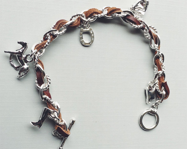 Equestrian leather charm bracelet