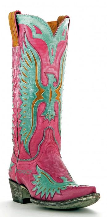 Old Gringo Eagle Boots in Pink & Aqua
