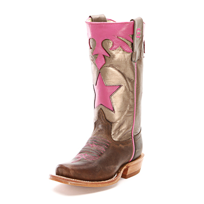 Anderson Bean Kids Boots Pink & Brown