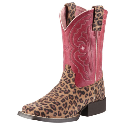 Ariat Kids Red Leopard Cowboy Boots