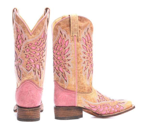 Corral Pink & Tan Cowboy Boots