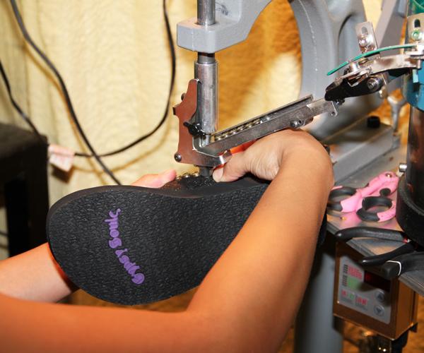 Gypsy Soule flip flop being made