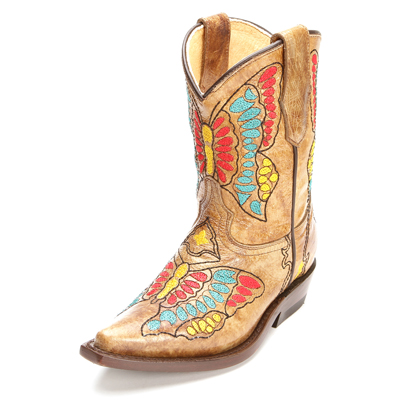 Tan Butterfly Corral Kids Boots
