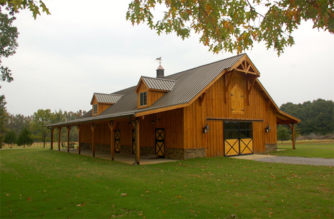 Beautiful traditional wooden horse barn