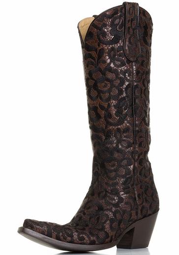 Black Lace Women's Cowboy Boots