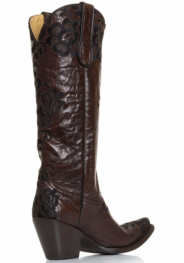 Corral Brown Floral Lace Cowgirl Boots