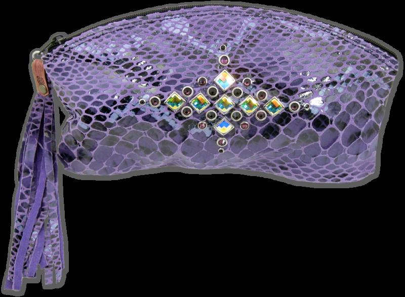 Heritage Brand Purple Python clutch