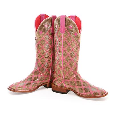 Macie Bean Pink Patchwork Cowboy Boots