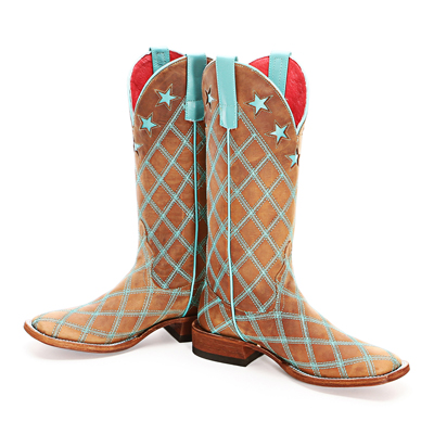 Macie Bean turquoise patchwork cowboy boots