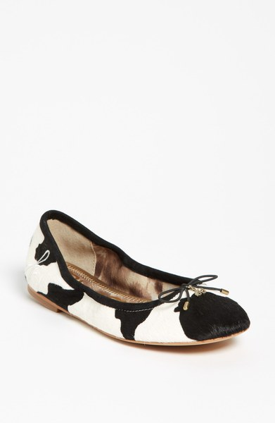 Sam Edelman Black & White cowhide flats