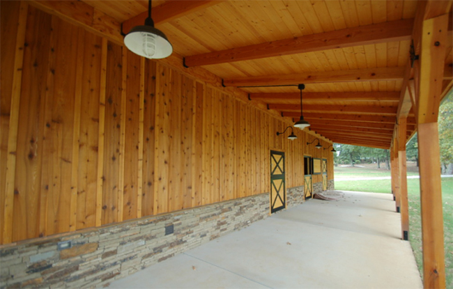 Spacious barn overhang and dutch doors