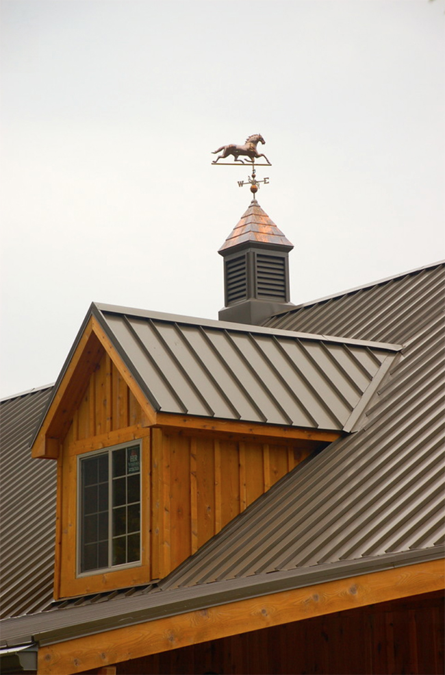 Traditional cupolas and a copper weathervane