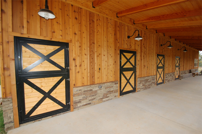 Wooden dutch doors with black accents