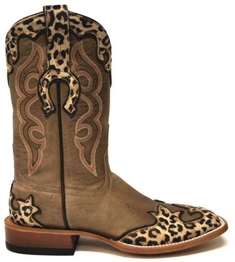 Horse Power Overlaid Leopard Print Boots