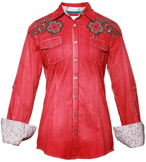 Roar Long Sleeve Red Western Shirt