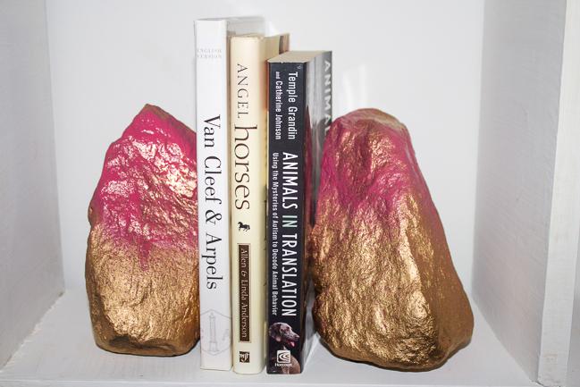 DIY Gold & Pink Rock Bookend Pair