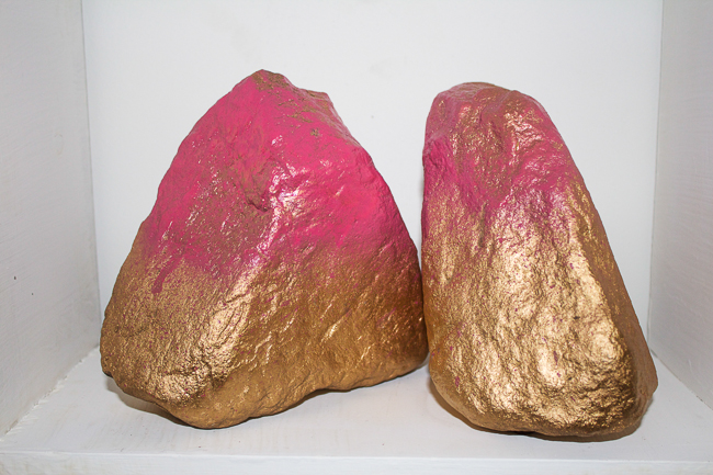 DIY Gold & Pink Rock Bookends