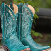 Justin Damiana cowboy boots in turquoise