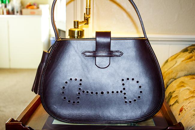 Black Leather Snaffle Bit Bag