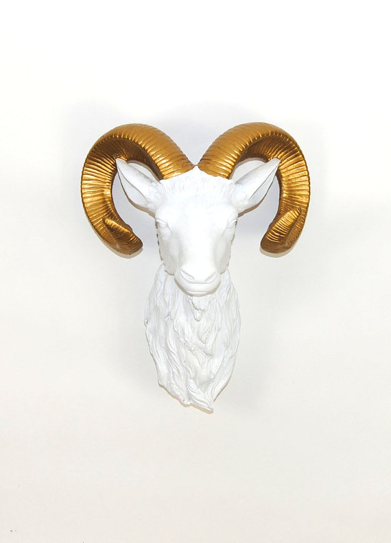 Faux White Ram Head