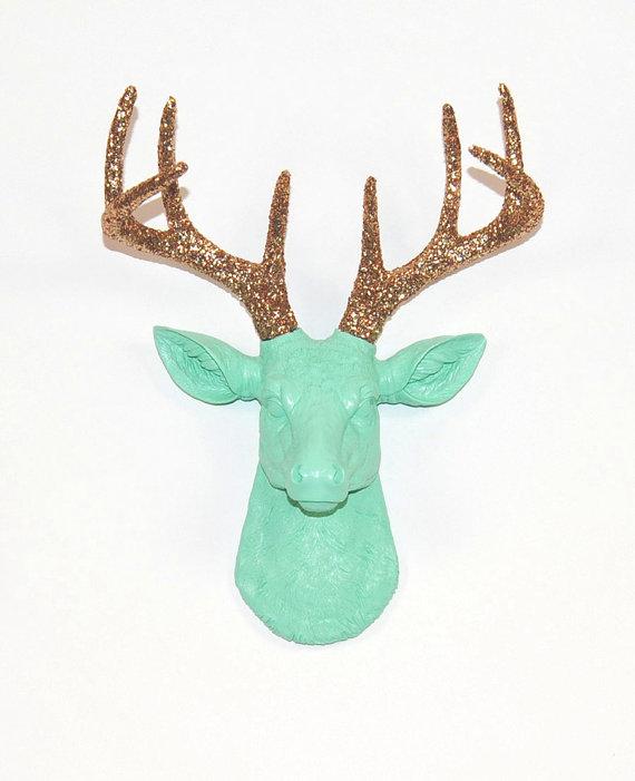 Sea Foam Mini Faux Deer Head