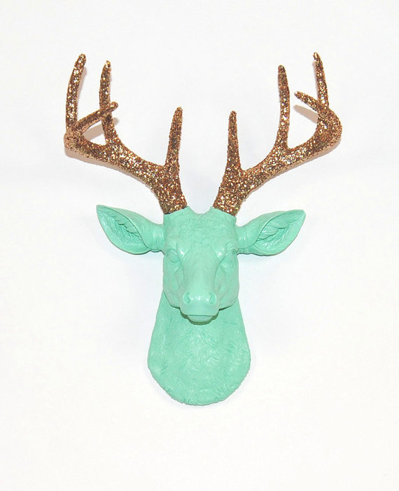 Sea Foam Mini Faux Deer Head