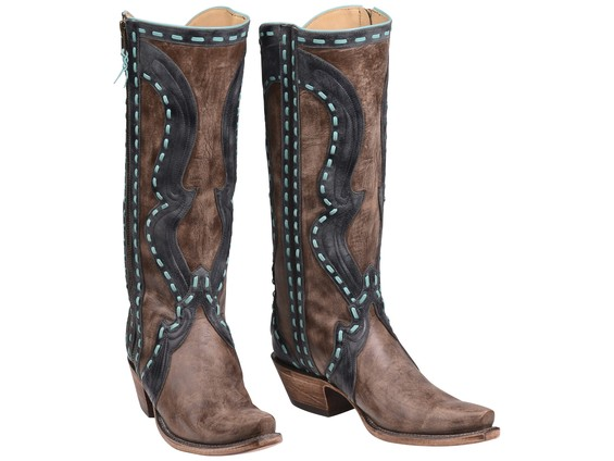 Brown-and-turquoise-Lucchese-Boots
