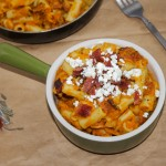 Maple Bacon Pumpkin Pasta with Goat Cheese