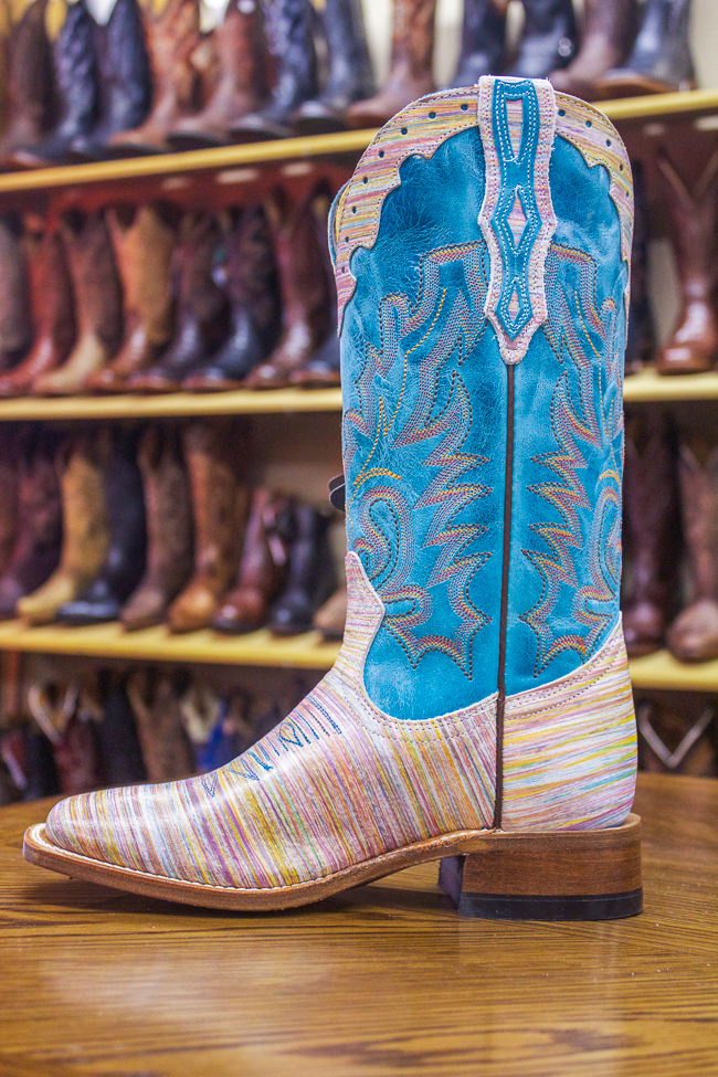 Boulet Colorful Striped Cowboy Boot