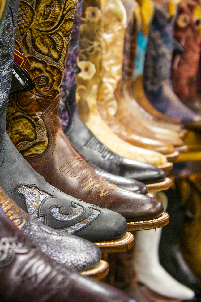 Colorful Boulet Cowboy Boots on a shelf