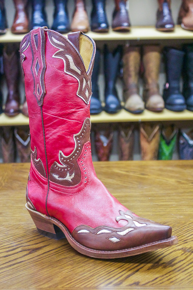 Red & Brown Snip Toe Boulet Cowboy Boot