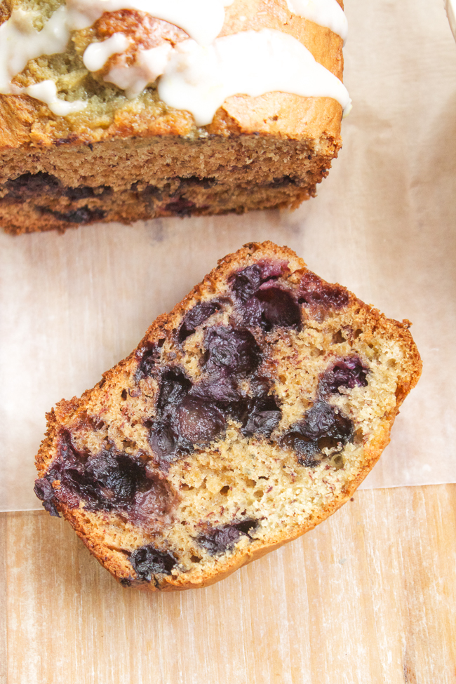 Blueberry Banana Bread with Lemony Glaze