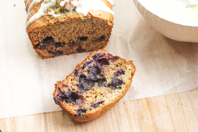 Blueberry Banana Bread with a Lemon Glaze