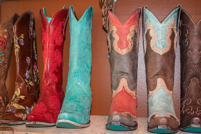 Bold red and turquoise Lane Boots