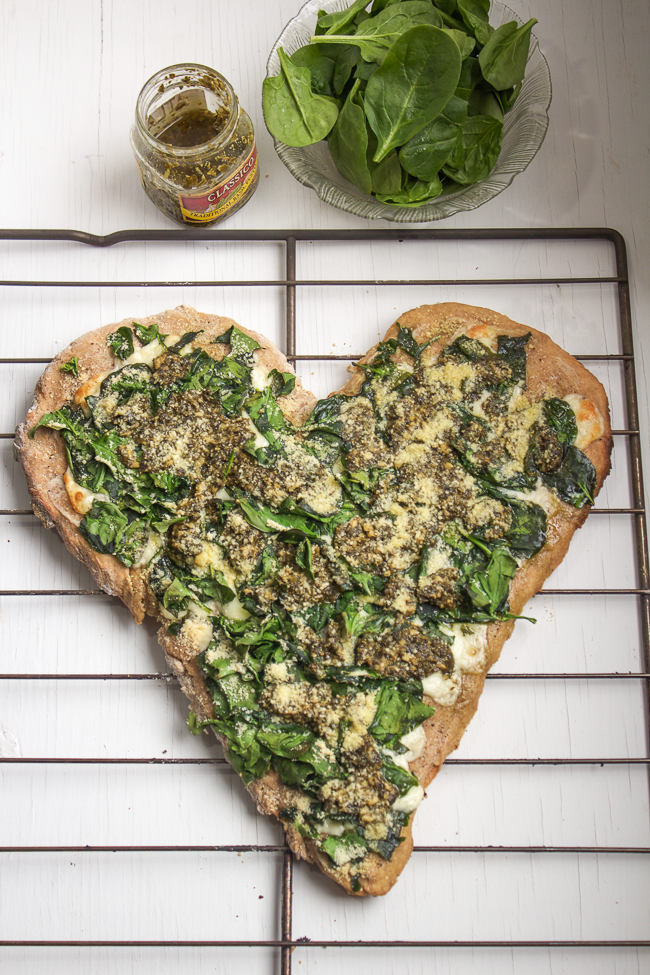 Homemade Spinach & Pesto Pizza for Valentine's Day