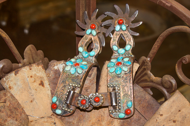 Mad Cow Company red and turquoise spurs