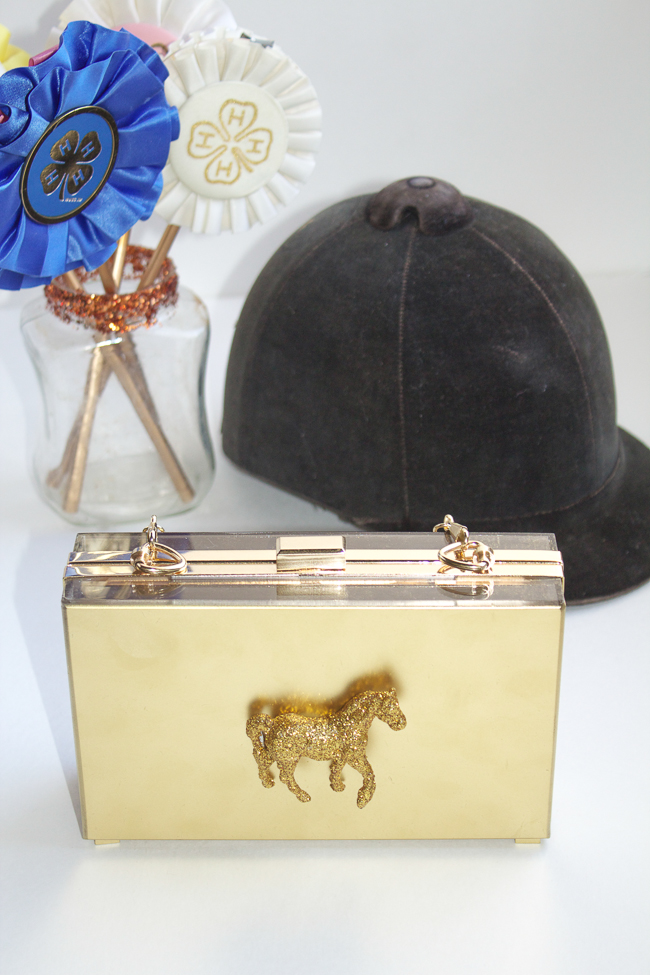 DIY Gold Horse Clutch and equestrian accessories