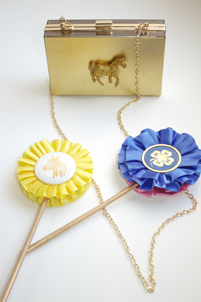 DIY Gold Horse Clutch and ribbons