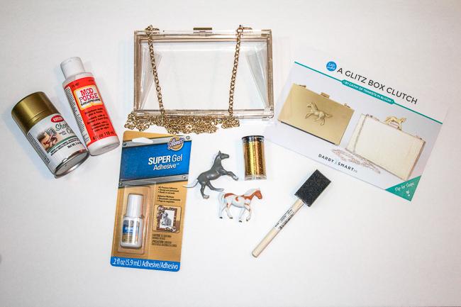 DIY Gold Horse Clutch kit supplies