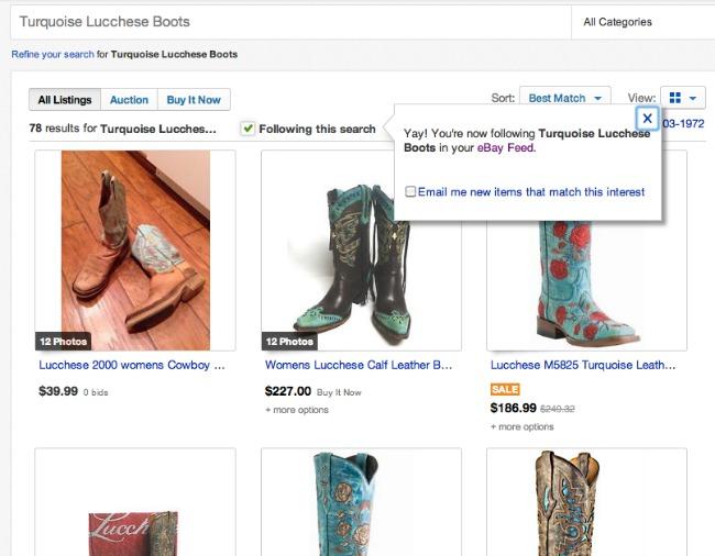 Set up new alerts for listings on eBay