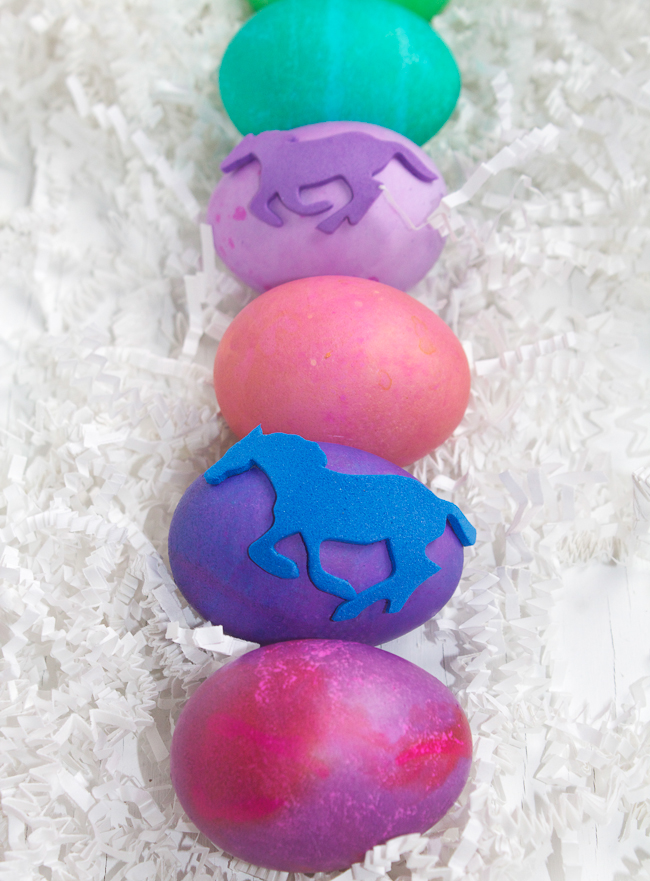 DIY Equine Easter Eggs in a row