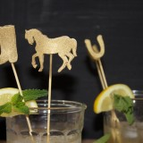 DIY Gold Kentucky Derby Cocktail Stirrers in Mint Juleps