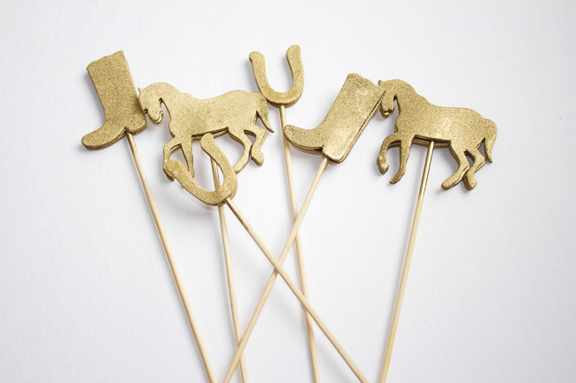 DIY Gold Kentucky Derby Cocktail Stirrers