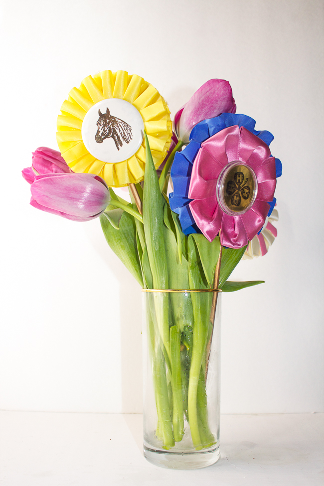 Diy ribbon floral arrangement horses heels