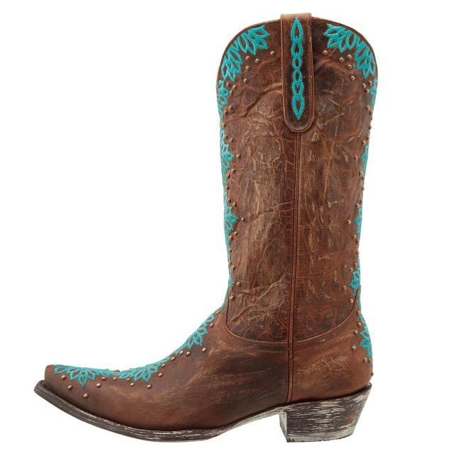 Old Gringo Tatum BrassTurquoise Cowboy Boot Side