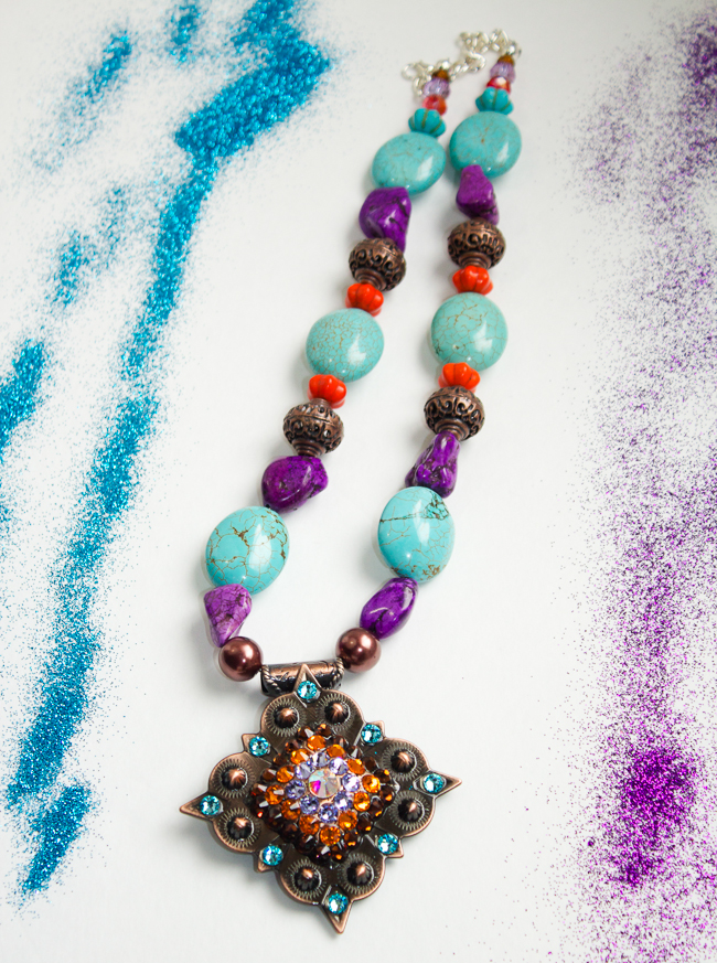 Rodeo Envy Turquoise, Purple and Orange necklace