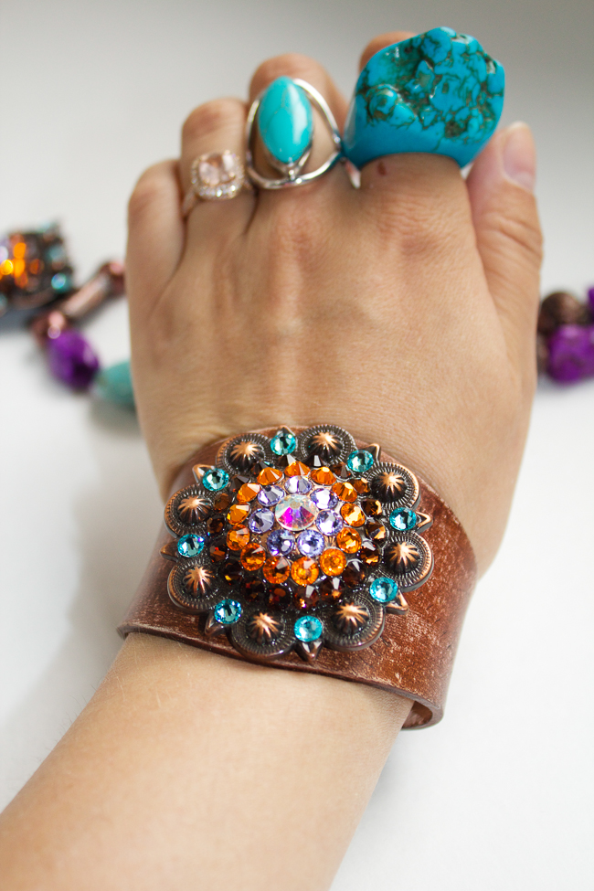 Rodeo Envy cuff with assorted turquoise rings