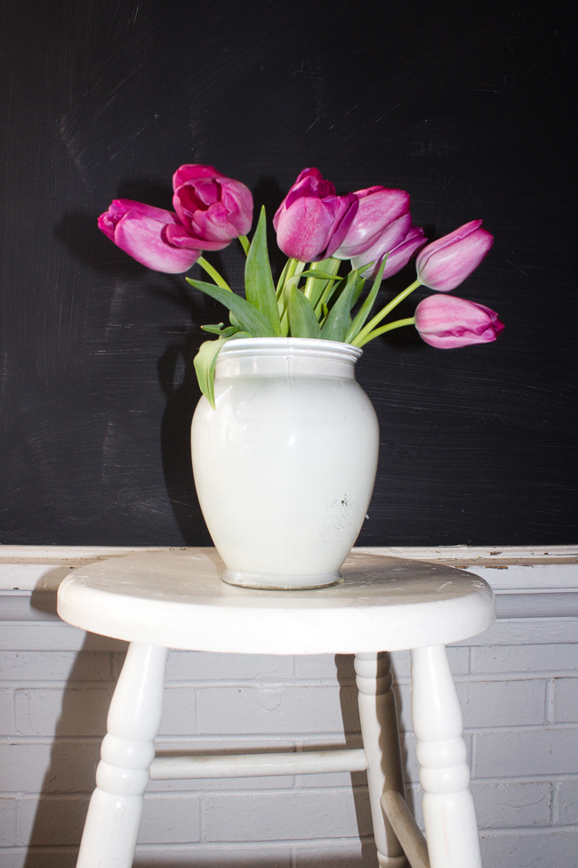 Tulip Arrangement on a vintage stool