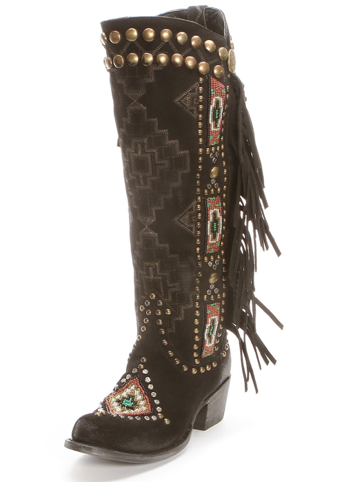 Double D Black Beaded Warrior Boots