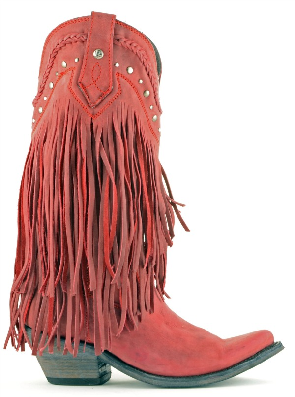 Liberty Black Fringe Vegas Boots in Rojo (Red)